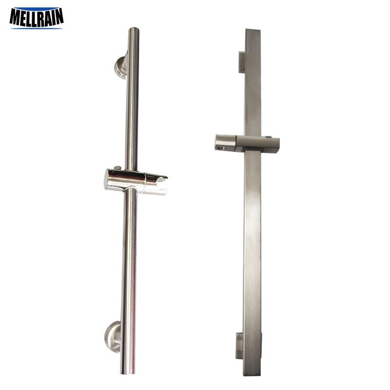 Bathroom Height  Adjustable Shower Slide Bar Hand Hold Shower Head Holder Stainless Steel ABS Brushed Nickel Round & Square