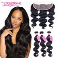 Ear To Ear Lace frontal closure with bundles Brazilian Body Wave With Closure  3 bundles with closure Human Hair with Closure