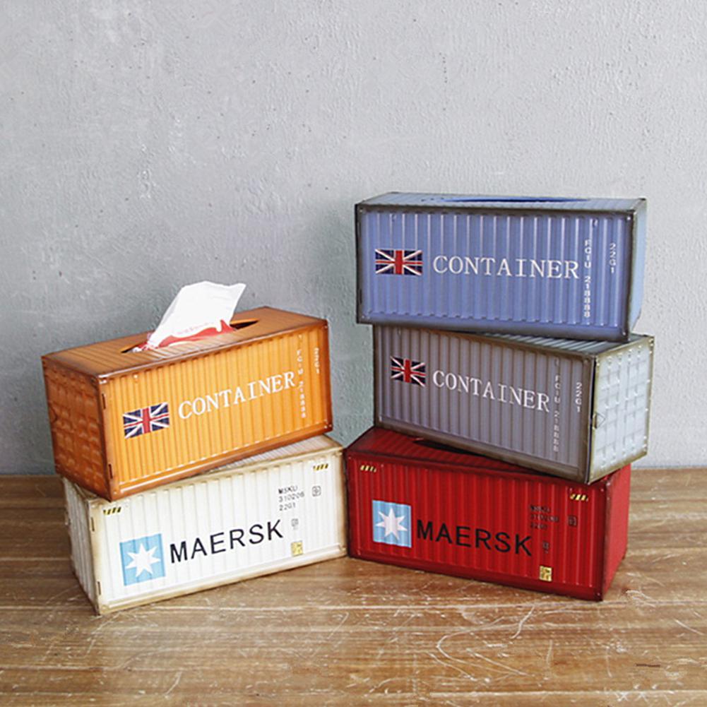 Retro caixa de armazenamento de tecido caixa de tecido em casa sala de estar ferro forjado criativo vento industrial desktop caixa de tecido decorativo