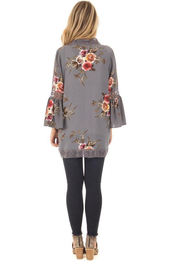 HTB1zLrvEeSSBuNjy0Flq6zBpVXaU Women Plus Size Loose Casual Basic Jackets Female 2018 Autumn Long Flare Sleeve Floral Print Outwear Coat Open Stitch Clothing