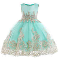 Retail Appliques Princess Girls Birthday Evening Party Gown Dress Noble Elegant Gold Line Girls Wedding Dress With Sashes L9029