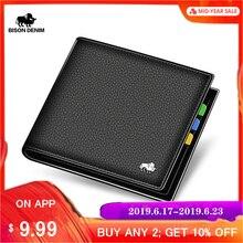 BISON DENIM Leather Men Wallet Brand Luxury Leather Wallets Office Male Wallet Mature Man Bifold Wallet Small Purse N4470-3