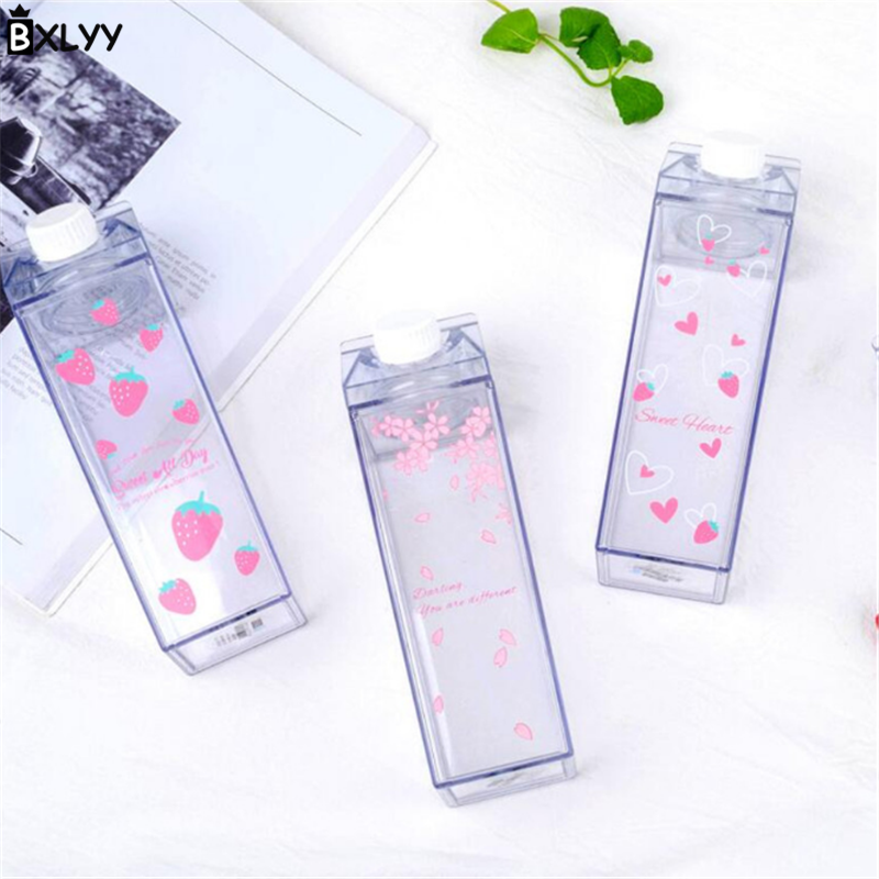 Cute Sakura Strawberry Water Bottle Milk Box Shape Transparent Plastic Portable Drinking Water Bottle BPA Free Outdoor Travel.8z