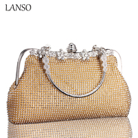 2016 Star Models Women S Shiny Rhinestones Banquet Shell Handbag Small Square Frame Circular Ring Handle