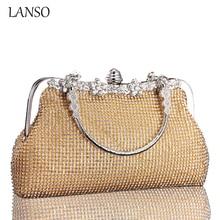 2016 stern Modelle frauen Glänzenden Strass Bankett Shell Handtasche Kleine Quadratische Rahmen Kreisförmige Ring Griff Tasche Kristall Tag Kupplung