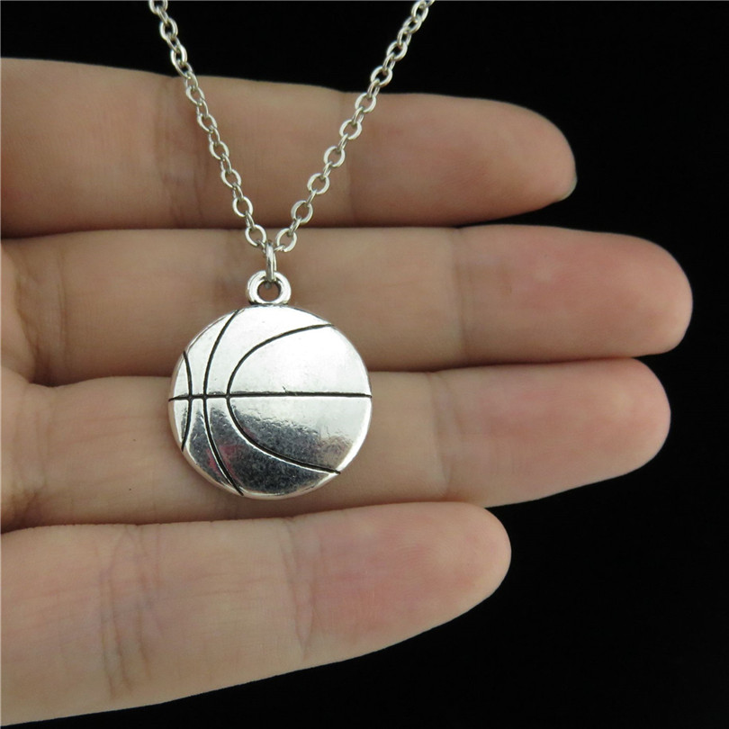GLOWCAT Q1A39 Silver Alloy Boys Basketball Ball Pendant ...