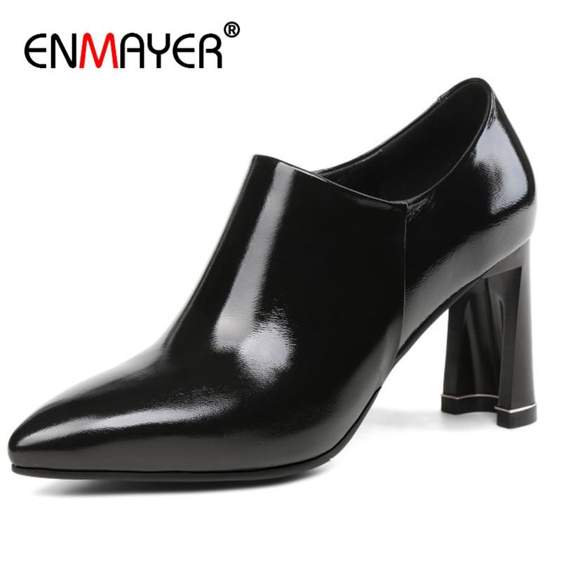Zipper Taille Hauts Dames Femmes Noir Peu Grande Pour Chaussures 34 Carré Bureau 43 Enmayer Profonde Bout Femme Talons Pointu Pompes OxaTnI