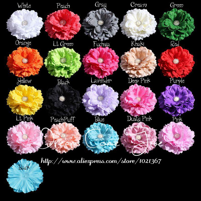 200pcs/lot 11CM 20 Colors Newborn DIY Chic Shabby Artificial Shaped Fabric Hair Flowers With Pearl Buttons For Baby Headbands