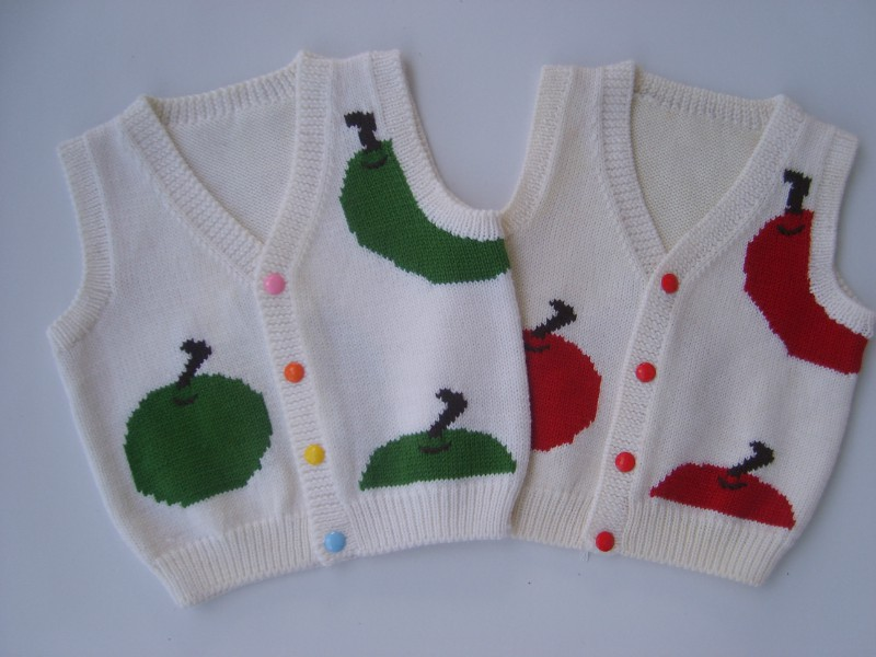 New Hand Knitted Baby Wool Cardigan Sweater Vest Size 6 12 Months ...