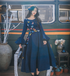 Image 3 - Women Wool Blue Dress Fashion 2017 Fall Winter Lotus Sleeve Lace Embroidery Butterfly Sweet Women Dress