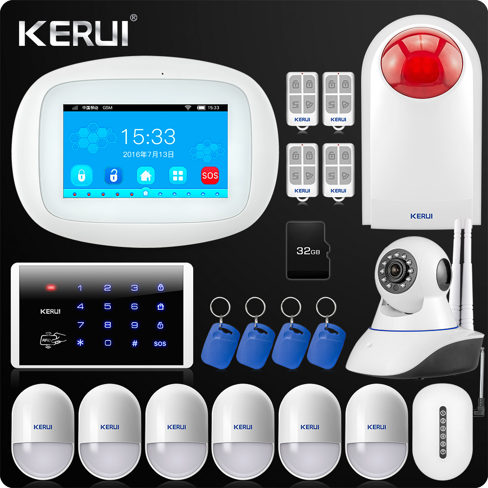KERUI K52 large Touch TFT Color Screen Wireless Security Alarm WIFI GSM Alarm System APP Control  Wifi Camera RFID Keyboard