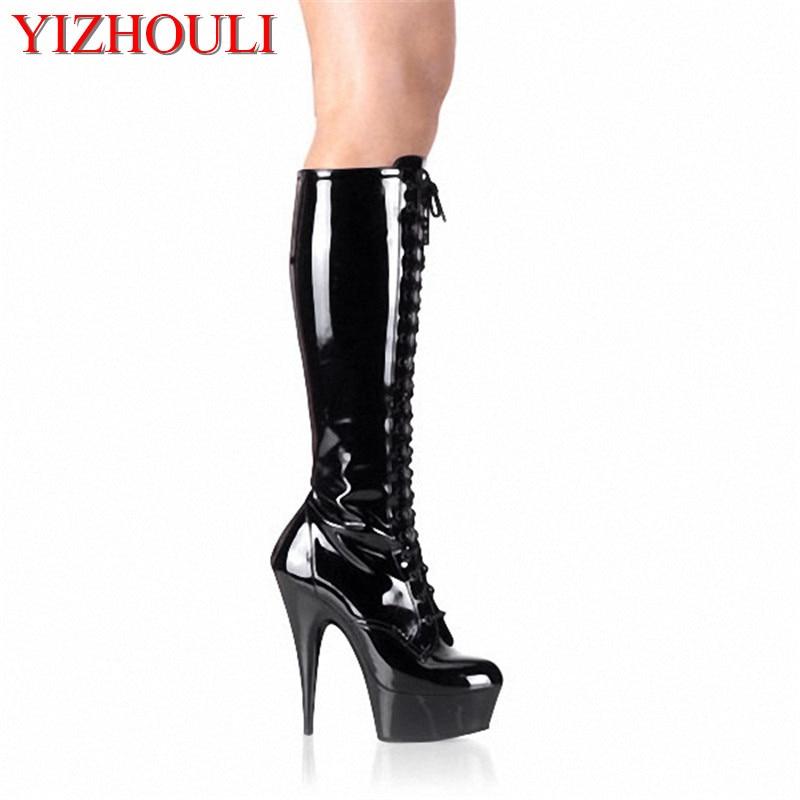 Fashionable 15cm high heels pole dancing model medium boots sexy knee length zipper strap boots