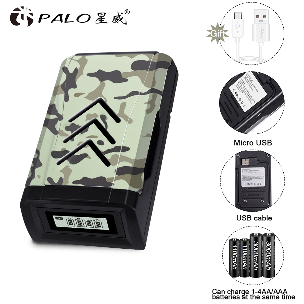 PALO 4 slot LCD display USB smart battery charger for AA AAA rechargeable 1.2V Ni-MH Ni-CD batteries