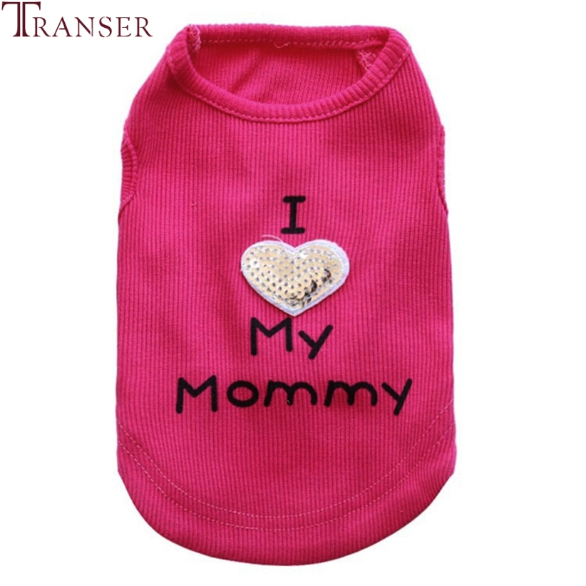 Transer Pet Dog Clothes For Small Dogs Sequins I LOVE MY MOMMY Autumn Winter Knitted Dog Vest Tank Top Pet Supply 80118