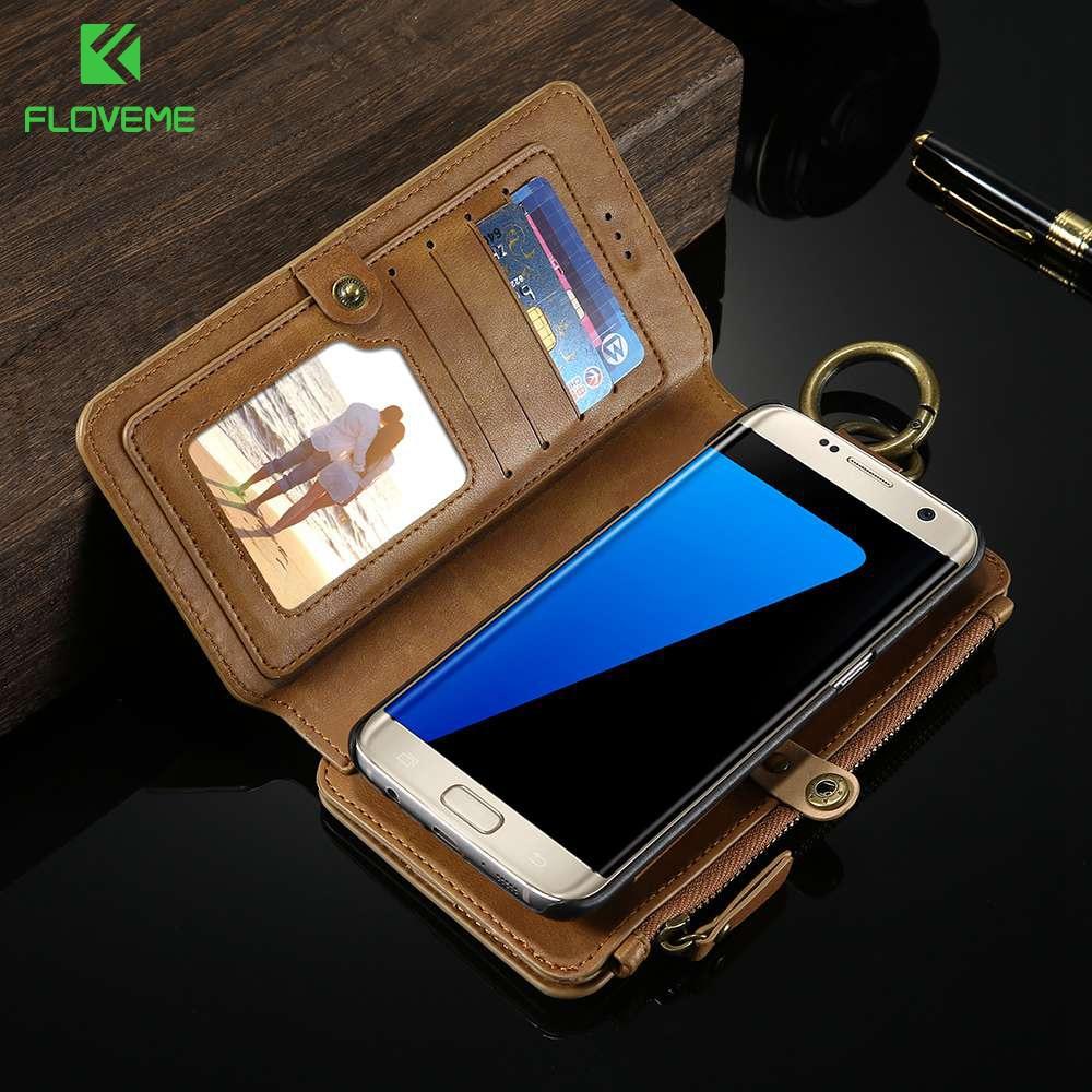 Цена за Floveme для Samsung Galaxy S7/edge S8 S8 Plus Hybrid съемный 18 слотов для карт металлическая молния бумажник чехол для Galaxy S8 shell