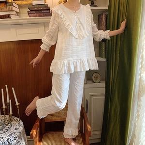 Image 2 - Womens Lolita Pajama Sets.Lace Embroidered Flowers Tops+Long Pants.Vintage Ladies Pyjamas Set.Victorian Sleepwear Loungewear
