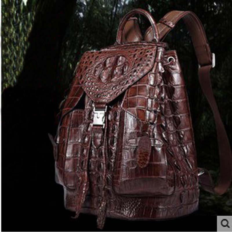2018 diwei  new hot free shipping import real crocodile backpack travel leisure fashion large capacity backpack men women