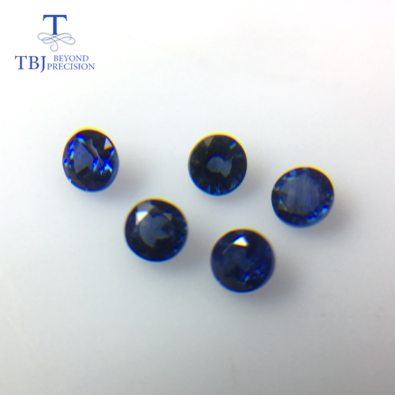 TBJ,Natural blue sapphire round 3mm ,5 piece in one lot ,weight 0.9 carat,diy Jewelry.