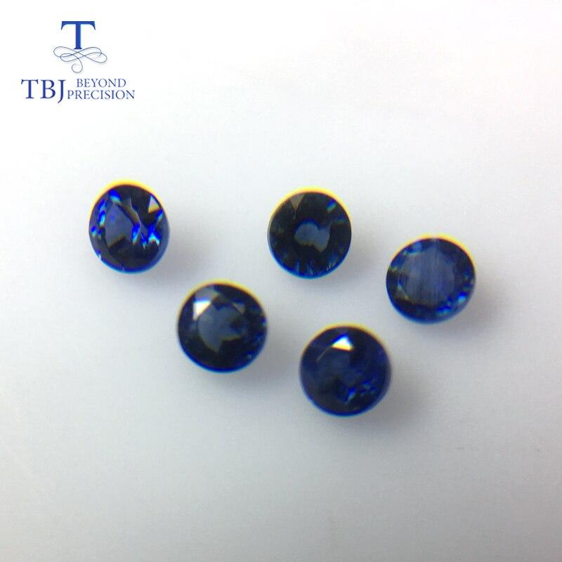 TBJ, saphir bleu naturel rond 3mm, 5 pièces en un lot, poids 0.9 carat, bijoux à bricoler soi-même.