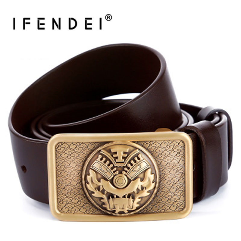 IFENDEI Men Belt Genuine Leather Dragon Belt Buckle For Jeans Pants Smooth Brass Buckle Wild Strap For Men Soft Cowskin Belts