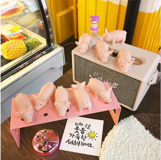 6PCS/SET Korea Ins Japan Lovely Cartoon Mini-Pink Piggy Vivid Scream Pig Vent Toy Doll Sound Stress Squeezing Action figure Doll