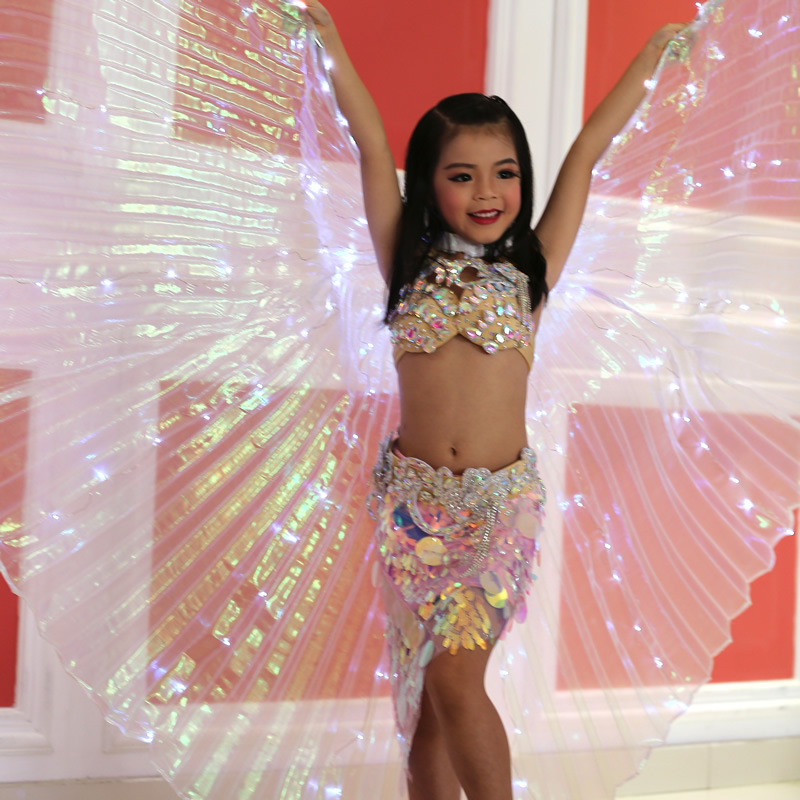Ruoru Children Led Isis Wings White Rainbow Kids Led Wings Belly Dance Butterfly Costume Girls Dance Wings with Stick