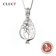 CLUCI 3 adet su damlası gümüş 925 kafes kolye büyüleyici kadınlar takı 925 ayar gümüş inci madalyon kolye SC060SB