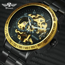 2019 WINNER Men Automatic Mechanical Watch Stainless Steel Watchband Men Wristwatch Golden Skeleton Dial Top Luxury Brand +BOX