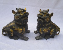 Art & Collectible 1 Pair Of Chinese Old Bronze Carved Gold Gilt Lion statue/Lion sculpture