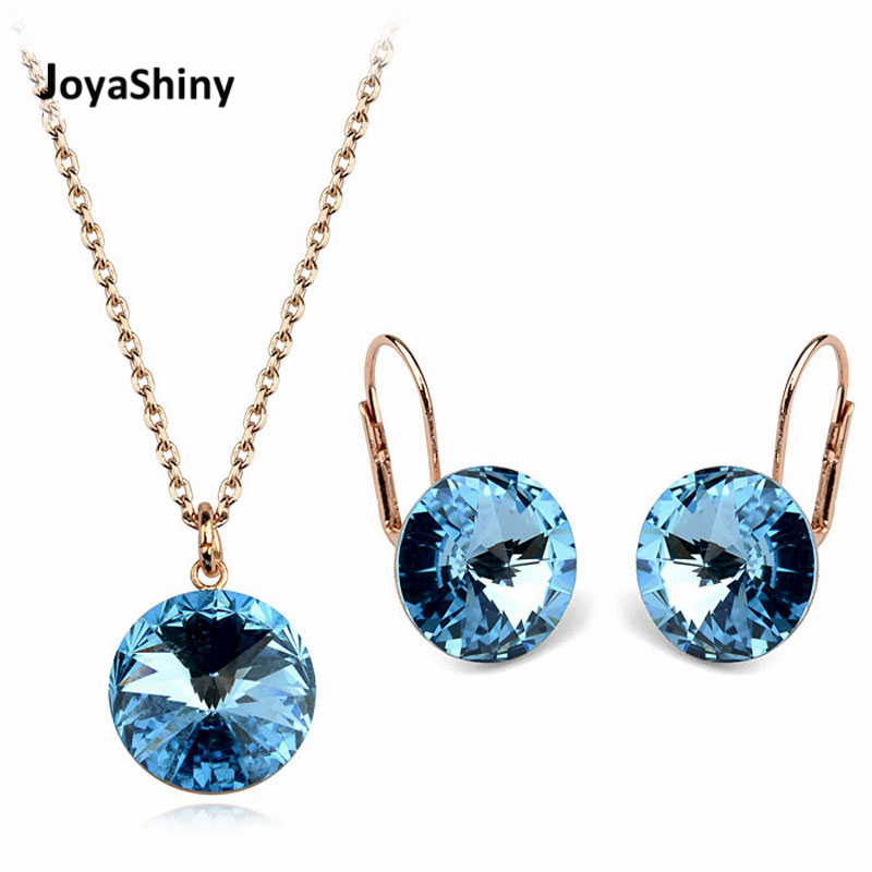 Joyashiny Fashion Bella Pendant Necklace Dangle Earrings Rose Gold/Silver Color Jewelry Sets For Women Crystals From Swarovski joyashiny made with swarovski element crystals angel pendant necklace cute silver color wing jewelry chic gifts for kids girls