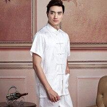 New Arrival Chinese Men Satin Kung Fu Shirt Short Sleeve Kung Fu Shirt Wu Shu Clothing Tops M L XL XXL XXXL W16