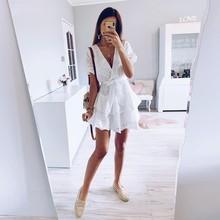Women summer dress Fashion Casual Loose V Collar Hollow Out High-waist Line Short