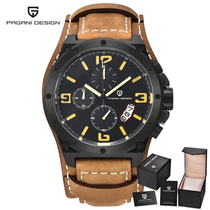 Pagani Design Military Watches font b Men s b font Leather font b Quartz b font