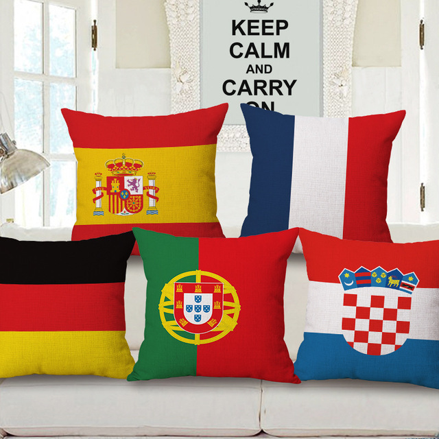 Football Team Flag European Cup Design Sofa Throw Pillow Case Cotton Linen Decorotive Cushion Cover 45x45cm Capas De Almofada