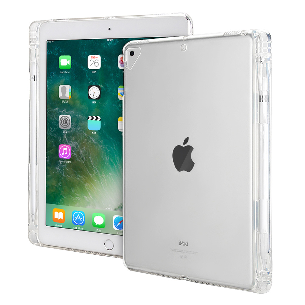 Case For Apple iPad 9.7 2018 , TPU Soft Clear Transparent Four Angle Shockproof With Pencil Holder Cover For iPad 9.7 2017