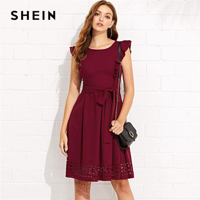 SHEIN Maroon Elegant Ruffle Shoulder Flounce Trim Laser Cut Out Hem Belted Natural Waist Dress Summer Women Weekend Casual Dress