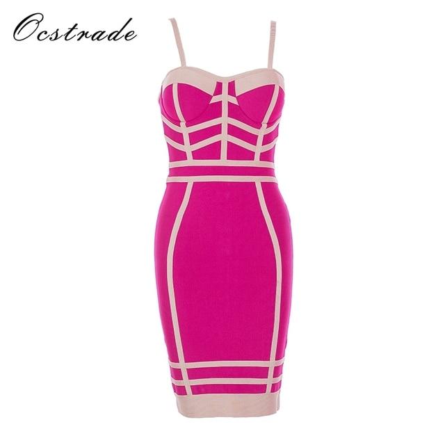 Ocstrade Bandage Dress 2017 New Arrivals Hot Pink Black Women