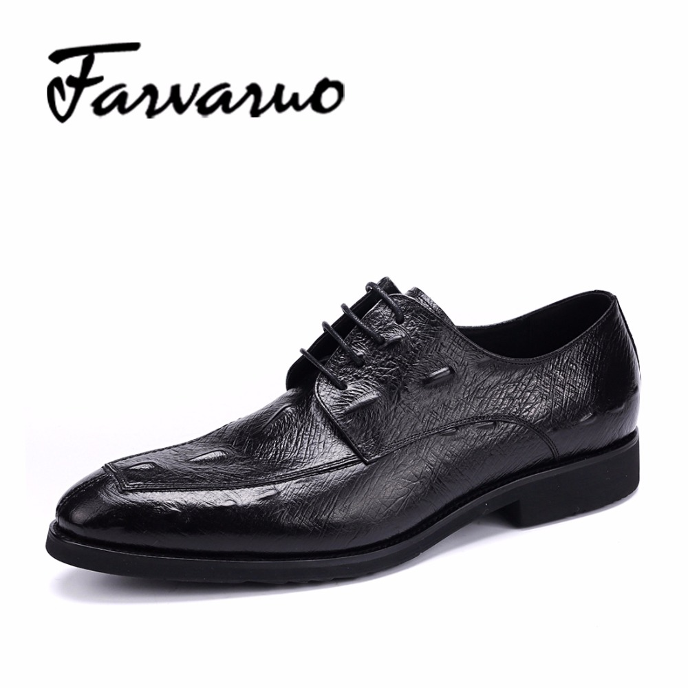 Mens Genuine Leather Ostrich Print Shoes 2017 Flat Breathable Men Casual Oxfords Shoe Spring Autumn Lace-up Zapatos Man Hot Sale urbanfind fashion men brand oxfords quality leather shoes size 37 44 for spring summer autumn casual lace up man footwear