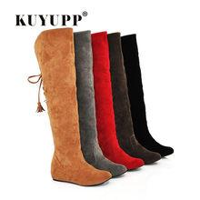 6a79d511 Calidad caliente botas para mujer Faux Suede sobre la rodilla botas  calientes planas cómodas botas altas de encaje Mujer zapatos.
