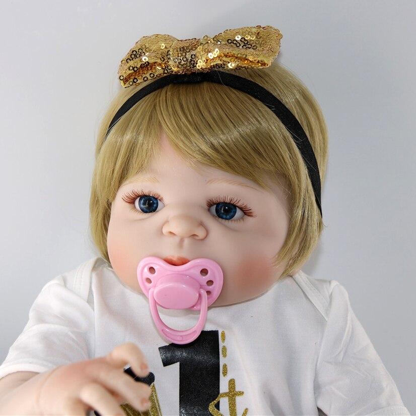 Nouveauté bébé fille Reborn poupées enfants jouet plein Silicone vinyle 23 ''57 cm réel Bebes Reborn menina vivant poupée NPK poupée reborn - 5