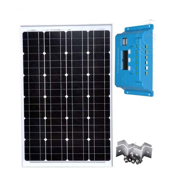 Kit plaque solaire 60 w panneau solaire 12 v chargeur solaire LCD PWM régulateur solaire 12 v/24 v 10A Z support de montage ventilateur de Camp de voiture