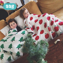 AAG Cotton Baby Infant Blanket nap apple blankets Knitted Photography Background Bed Basket Stroller Cover Bed Quilt 40 free shipping infant children cartoon thick coral cashmere blankets baby nap blanket baby quilt size is 110 135 cm t01