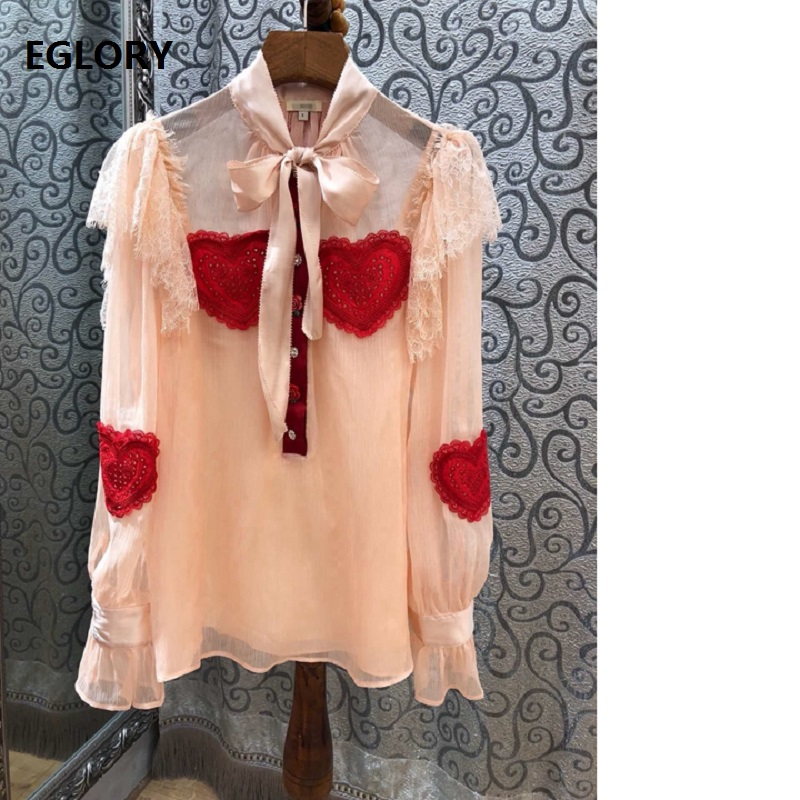 Pink Black Shirts 2018 Autumn Fashion Sexy Blouse Shirt 2018 Women Bow Neck Lace Patchwork Sweetheart Embroidery Chiffon Blouse