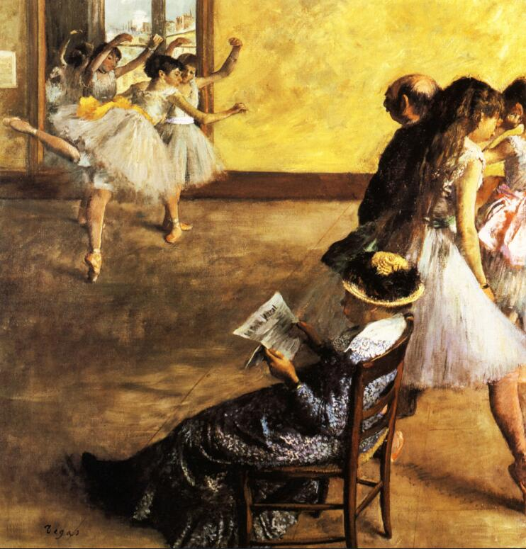 High quality Oil painting Canvas Reproductions Ballet Class, the Dance Hall (1880) By Edgar Degas hand painted