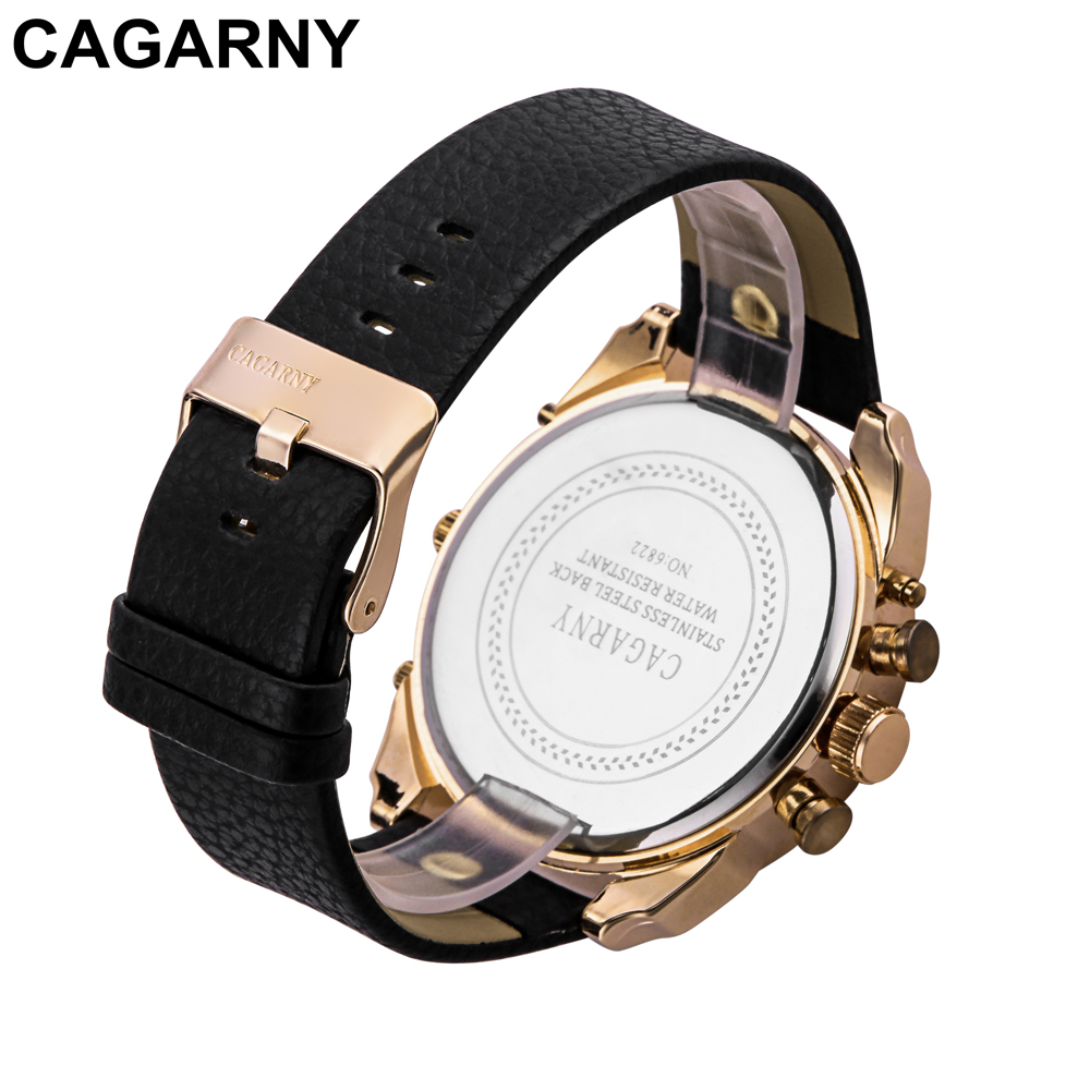 mens military watches army rose gold case black leather strap sports watches dual time zones large dial male clock for brave men free shipping (21)