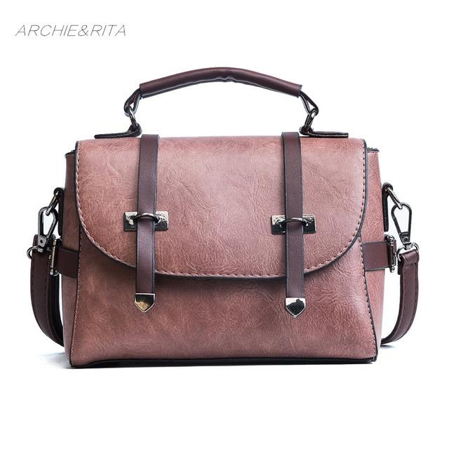 0d84f8318eeb ARCHIE RITA Vintage Postman Bag Women Fashion Yellow Leather Handbag  Shoulder Pink Bags For Woman 2018 Messenger Red Bag Girls