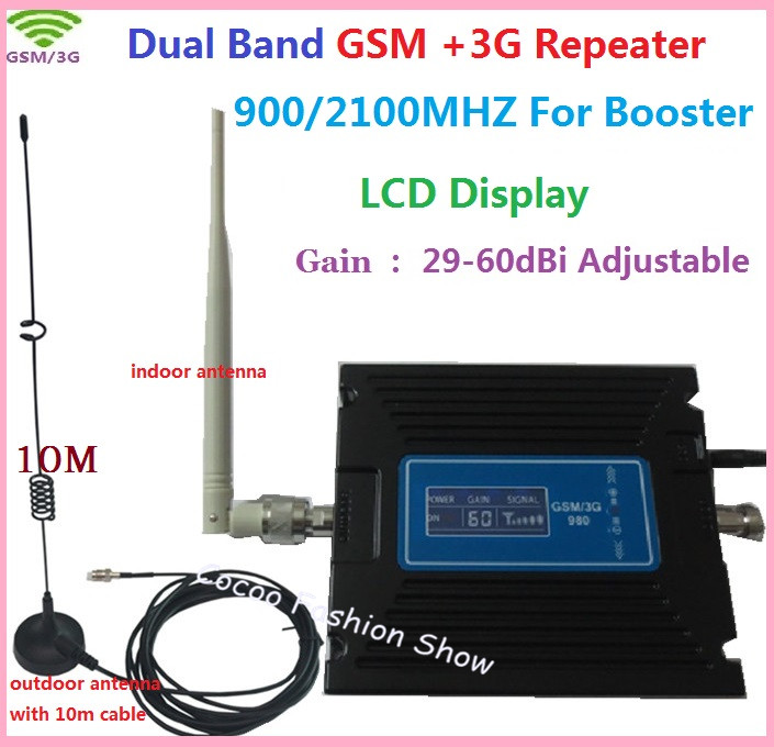 Newest LCD Display GSM WCDMA Repeater 2G 3G Mobile Phone GSM 900MHZ 3G 2100MHz Signal Booster High Gain Adjust Amplifier BoosterNewest LCD Display GSM WCDMA Repeater 2G 3G Mobile Phone GSM 900MHZ 3G 2100MHz Signal Booster High Gain Adjust Amplifier Booster