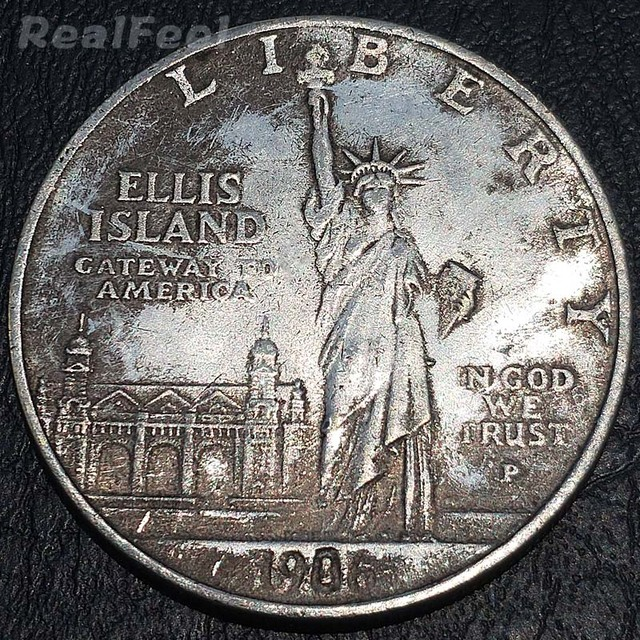 US $2 38 |American old replica coins 1906 US Liberty 1 dollar copy coin  Ellis island antique silver plated copper collectible coins-in Non-currency