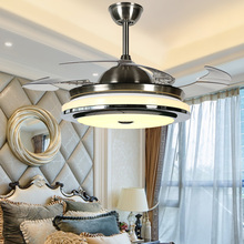 2018 New High Quality Modern Invisible Fan lights Acrylic Leaf Led Ceiling Fans 110v 220v Wireless control ceiling fan light cheap Bing Vision Wedge Remote Control Polished Chrome BV909 Chandeliers ART DECO