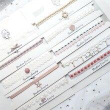 Korea Fabric Lace Plaid Striped Flower Summer Girls Woman Choker Fresh Vintage Clavicular chain Short Necklace Jewelry-JQCK001F